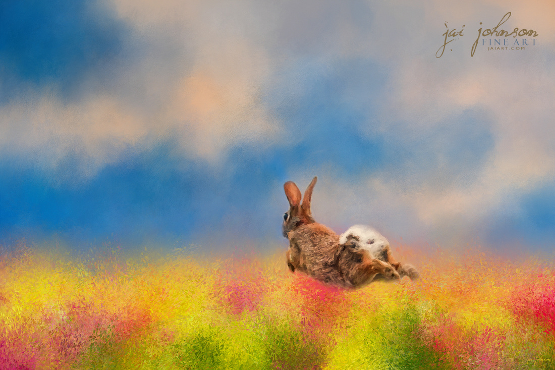 Leap Into Spring - Fun Bunny Rabbit Art
