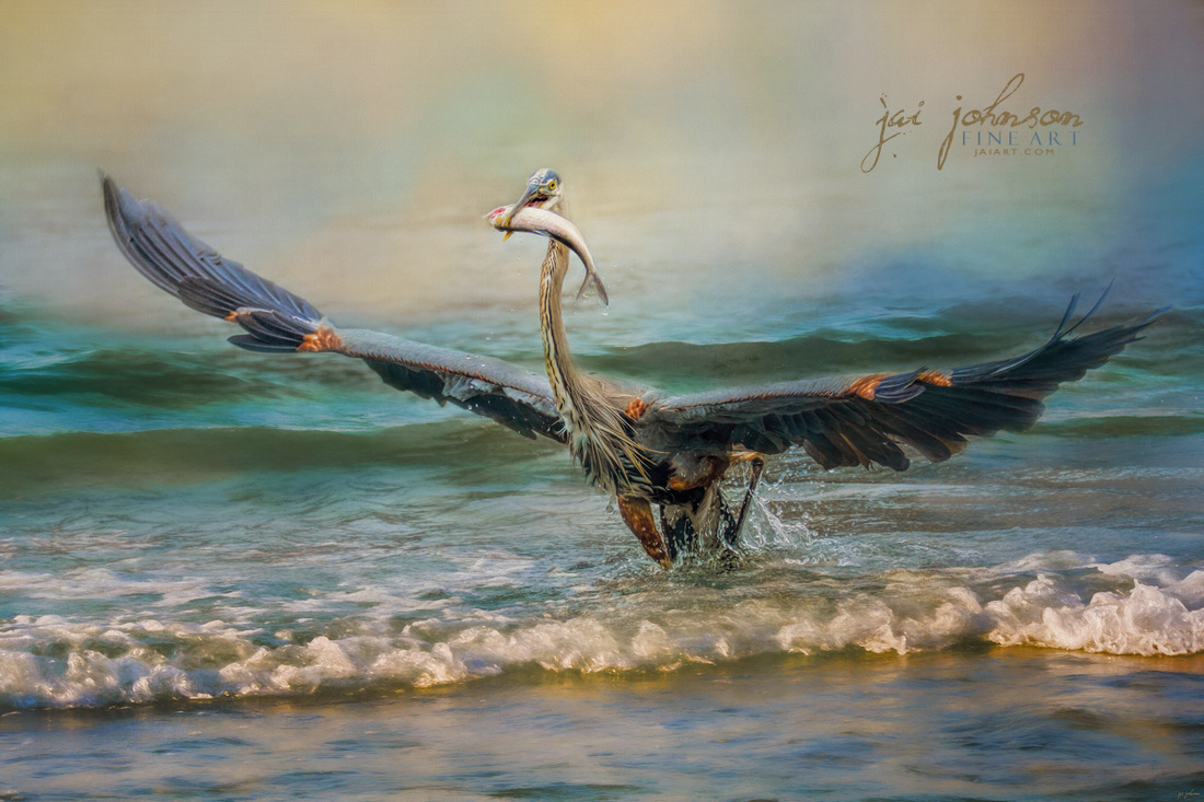 Bringing Dinner Home, Blue Heron Art